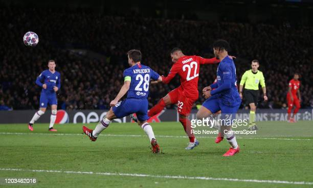 Bayern Munich's Serge Gnabry with a second half shot during the UEFA Champions League round of 16 first leg match between Chelsea FC and FC Bayern...