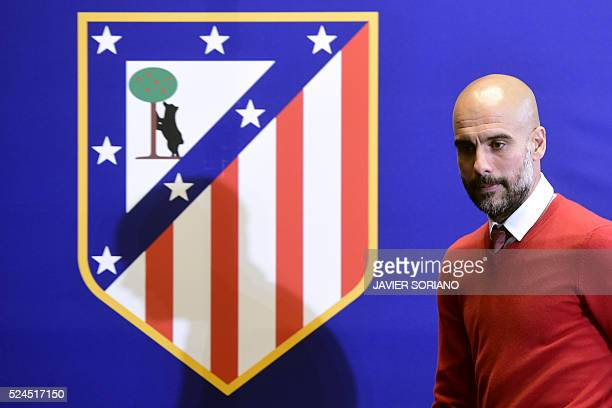 Bayern Munich's Spanish coach Josep Guardiola arrives to give a press conference at the Vicente Calderon stadium in Madrid on April 26 2016 on the...