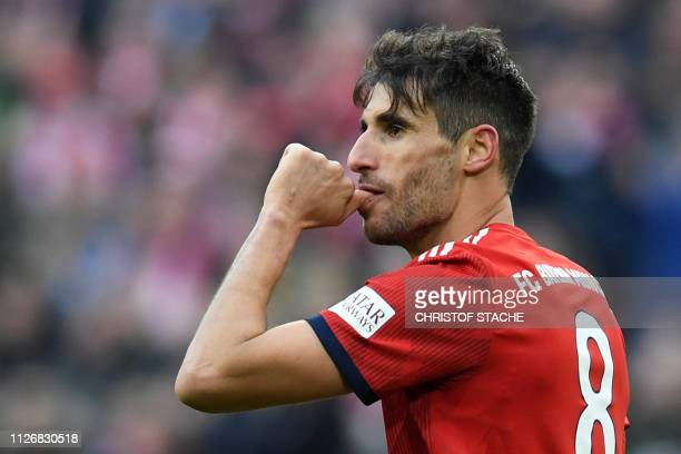 Bayern Munich's Spanish midfielder Javi Martinez reacts after scoring during the German first division Bundesliga football match Bayern Munich vs...