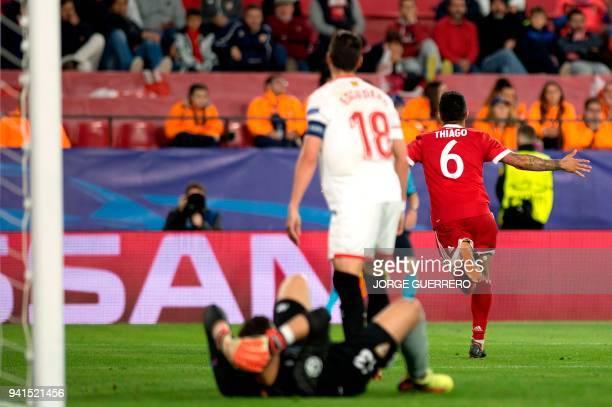 Bayern Munich's Spanish midfielder Thiago Alcantara celebrates a goal during the UEFA Champions League quarterfinal first leg football match between...