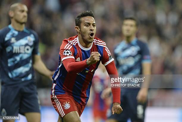 Bayern Munich's Spanish midfielder Thiago Alcantara celebrates scoring the 1-0 goal during the UEFA Champions League second-leg quarter-final...