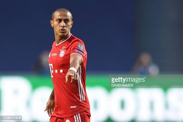 Bayern Munich's Spanish midfielder Thiago Alcantara gestures during the UEFA Champions League final football match between Paris Saint-Germain and...