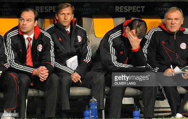 Bayern Munich's sports director Christian Nerlinger assistant coach Andries Jonker Dutch head coach Louis van Gaal and assistant coach Hermann...