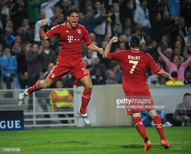 Bayern Munich's striker Mario Gomez celebrates after scoring a goal during the UEFA Champions League quarter final football match Marseille vs Bayern...