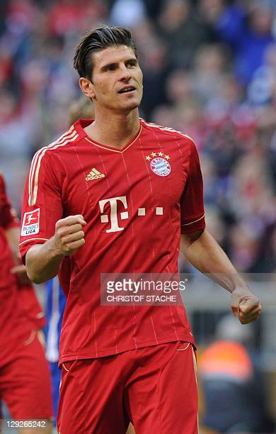 Bayern Munich's striker Mario Gomez reacts after the penalty goal for Munich during the German first division Bundesliga football match FC Bayern...