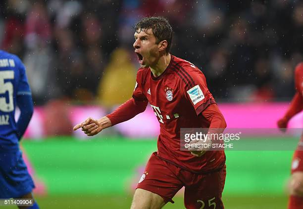 Bayern Munich's striker Thomas Mueller celebrates after the second goal for Munich during the German first division Bundesliga football match Bayern...