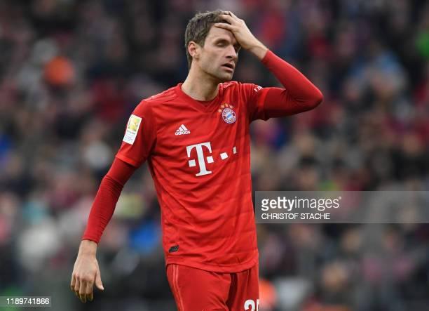 Bayern Munich's striker Thomas Mueller reacts during the German first division Bundesliga football match FC Bayern Munich vs VfL Wolfsburg in Munich...