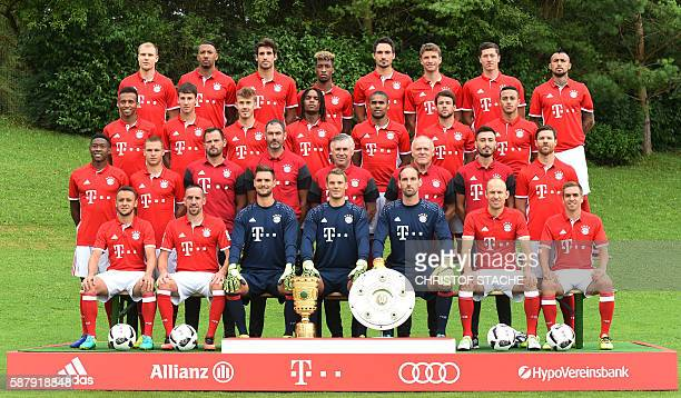 Bayern Munich's team poses during a team photo presentation of the German first division Bundesliga team FC Bayern Munich at the club area in Munich...