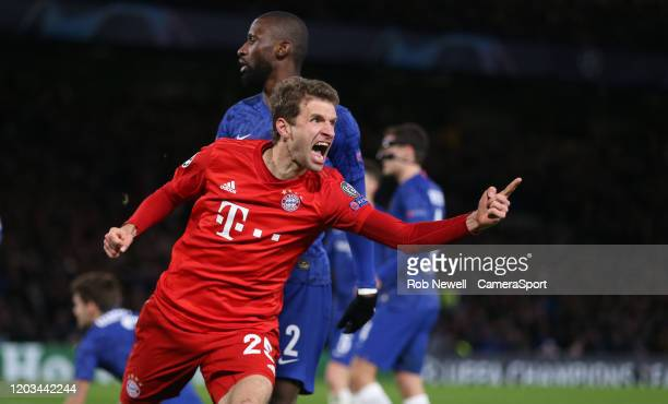 Bayern Munich's Thomas Muller celebrates after his sides first goal scored by Serge Gnabry during the UEFA Champions League round of 16 first leg...