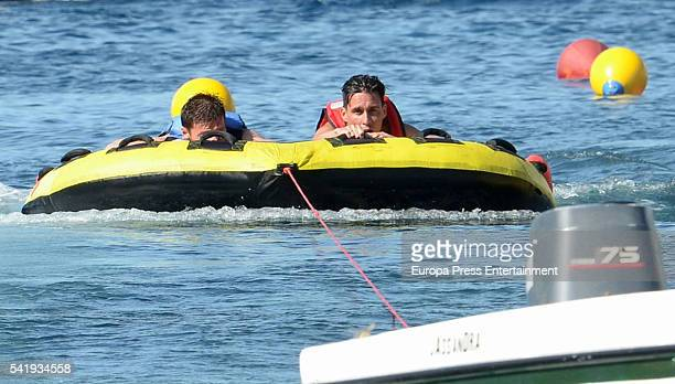 Bayern of Munich football player Xabi Alonso and Napoli football player Jose Callejon are seen on June 20 2016 in Ibiza Spain