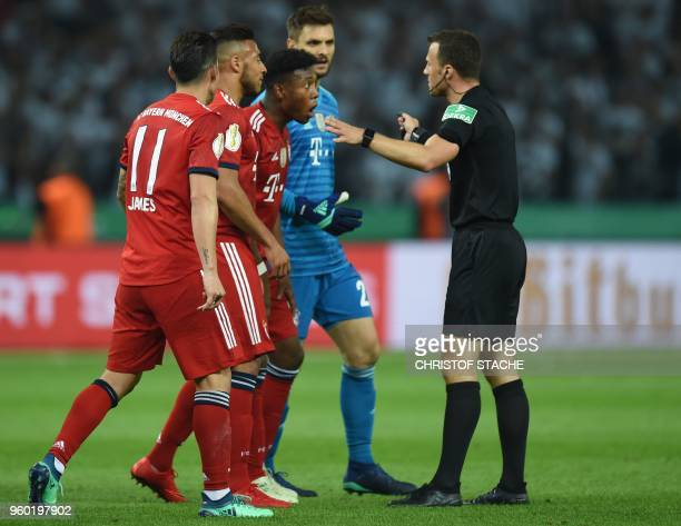Bayern player look for a penalty from Referee Felix Zwayer during the German Cup DFB Pokal final football match FC Bayern Munich vs Eintracht...