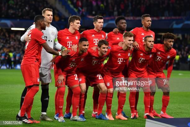 Bayern players Bayern Munich's Austrian defender David Alaba, Bayern Munich's German goalkeeper Manuel Neuer, Bayern Munich's French defender...