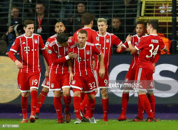 Bayern players celebrate the goal scored by Corentin Tolisso Bayern's second goal during the UEFA Champions League group B match between RSC...