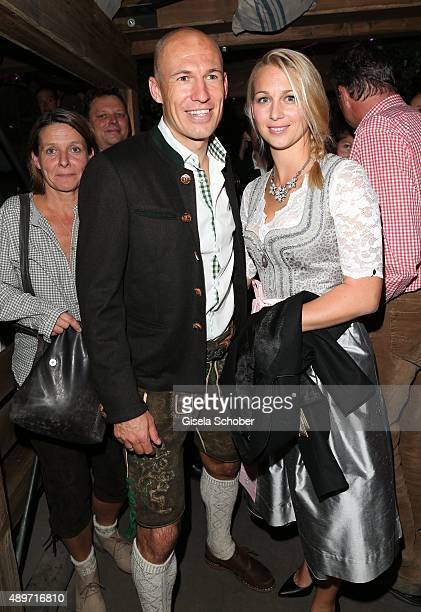 Bayern soccer player Arjen Robben and his wife Bernadien Eillert during the Oktoberfest 2015 at Kaeferschaenke at Theresienwiese on September 23 2015...