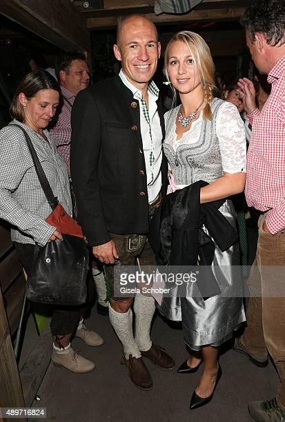 Bayern soccer player Arjen Robben and his wife Bernadien Eillert during the Oktoberfest 2015 at Kaeferschaenke at Theresienwiese on September 23,...