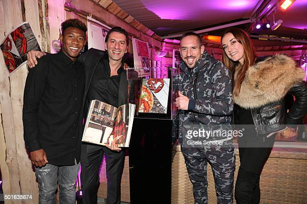 Bayern soccer player David Alaba host Ugo Crocamo Franck Ribery and Melanie Fischer girlfriend of Ugo during the launch event of H'ugo's first pizza...