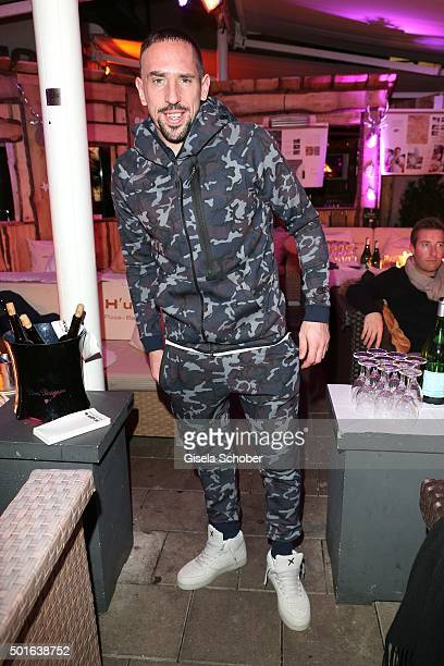 Bayern soccer player Franck Ribery wearing a tracksuit with camouflage pattern during the launch event of H'ugo's first pizza cooking book at H'ugo's...