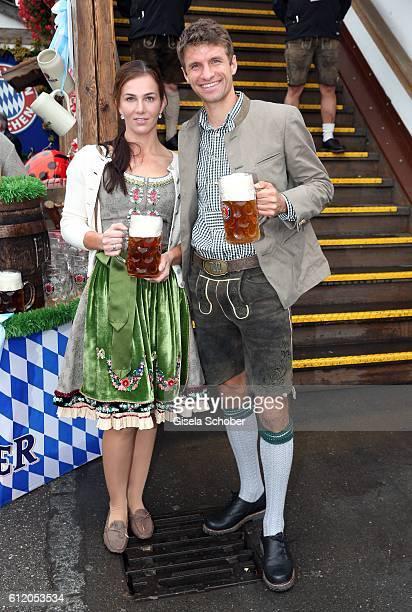 Bayern Soccer player Thomas Mueller and his wife Lisa Mueller attend the 'FC Bayern Wies'n' during the Oktoberfest at Kaeferschaenke / Theresienwiese...