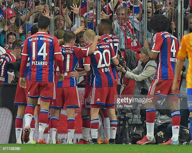 Bayern Team celebrates after scoring the 10 during the game FC Bayern Muenchen against Hertha BSC on april 25 2015 in Muenchen Germany