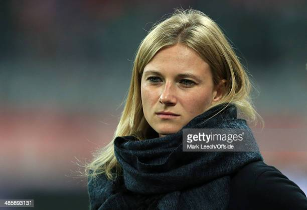 Bayern team manager Kathleen Krueger seen prior to the UEFA Champions League Quarter Final second leg match between FC Bayern Muenchen and Manchester...
