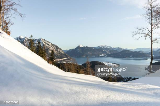 bayern - walchensee winter - ruhige szene stock pictures, royalty-free photos & images