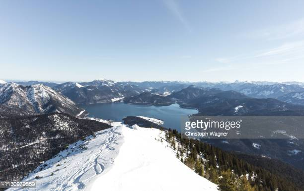 bayern - walchensee winter - tourismus stock pictures, royalty-free photos & images
