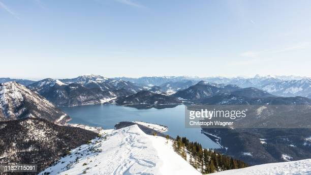 bayern - walchensee winter - sorglos stock pictures, royalty-free photos & images