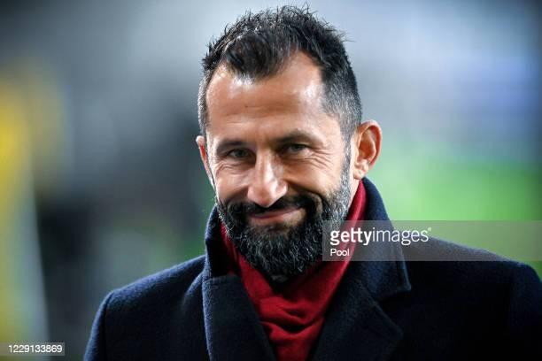 Bayerns director of sports Hasan Salihamidzic looks on prior to the German Bundesliga match between Arminia Bielefeld and Bayern Muenchen at...