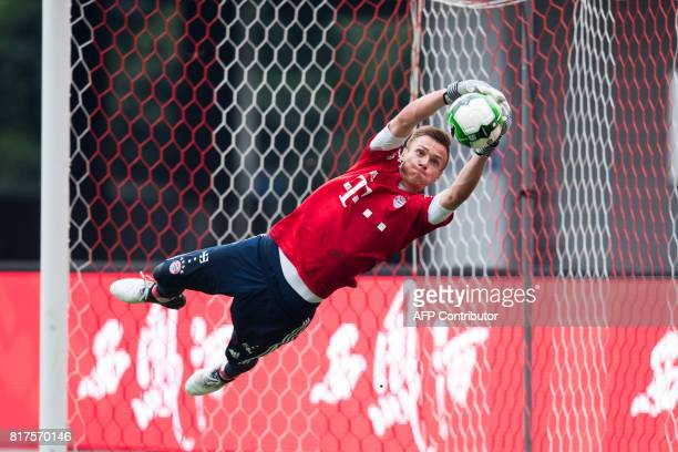 Bayerns goalkeeper Christian Fruechtl attends a training session ahead of the International Champions Cup football match between Bayern Munich and...