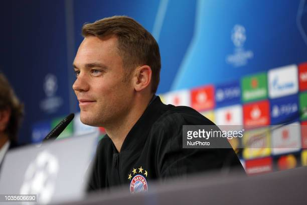 Bayern's goalkeeper Manuel Neuer from Germany attends a press conference on the eve of the UEFA Champions League Group E football match SL Benfica vs...