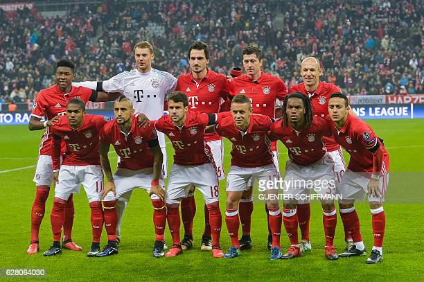 Bayern's players Austrian defender David Alaba goalkeeper Manuel Neuer defender Mats Hummels Polish forward Robert Lewandowski and Dutch midfielder...