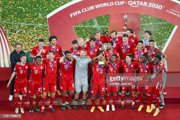 Bayern's players celebrate their win in the FIFA Club World Cup final football match between Germany's Bayern Munich vs Mexico's UANL Tigres at the...