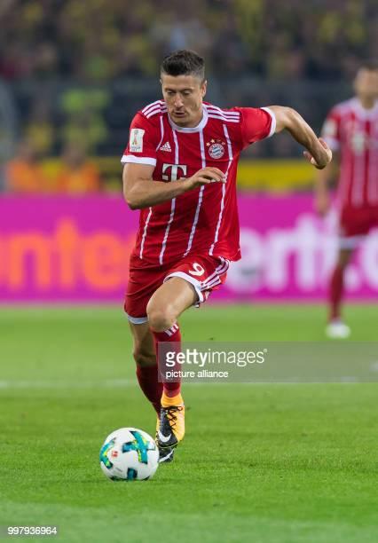 Bayern's Robert Lewandowski in action during the DFLSupercup match between Borussia Dortmund and Bayern Muenchen in the Signal Iduna Park in Dortmund...