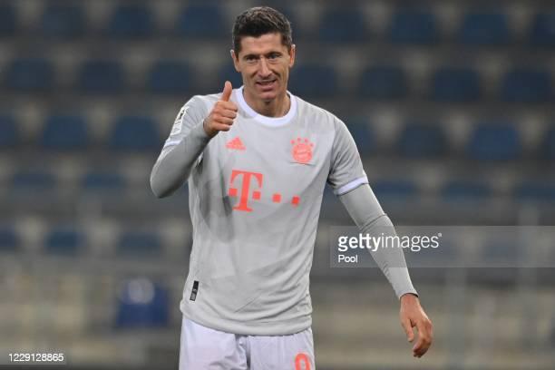 Bayern's Robert Lewandowski reacts during the German Bundesliga match between Arminia Bielefeld and Bayern Muenchen at Schueco Arena on October 17...