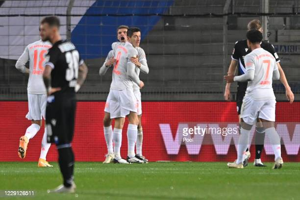 Bayern's Thomas Mueller celebrates his 01 goal during the Bundesliga match between DSC Arminia Bielefeld and FC Bayern Muenchen at Schueco Arena on...