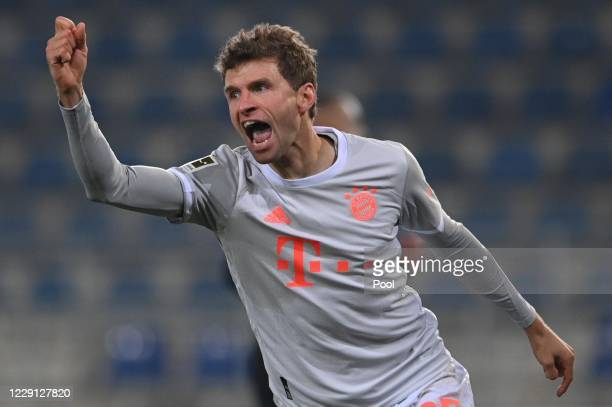 Bayern's Thomas Mueller celebrates his 04 goal during the Bundesliga match between DSC Arminia Bielefeld and FC Bayern Muenchen at Schueco Arena on...