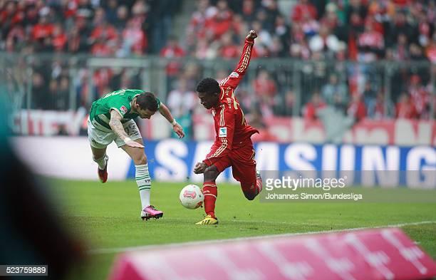 BayernSpieler David Alaba und der Fuerther Sercan Sararer kaempfen um den Ball beim Bundesligaspiel FC Bayern Muenchen gegen die SpVgg Greuther...