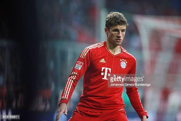 BayernSpieler Thomas Mueller in Aktion beim Bundesligaspiel FC Bayern Muenchen gegen die SpVgg Greuther Fuerth am 19 Januar 2013 in der AllianzArena...