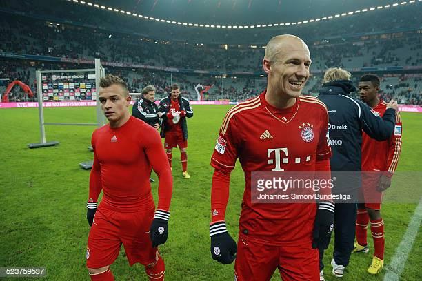 BayernSpieler Xherdan Shaqiri Arjen Robben und David Alaba nach dem Bundesligaspiel FC Bayern Muenchen gegen die SpVgg Greuther Fuerth am 19 Januar...