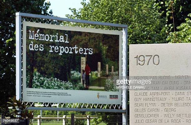 Picture taken of a commemorative stele during the inauguration ceremony of a Journalists Memorial, 02 May 2007 in Bayeux, northwestern France. The...