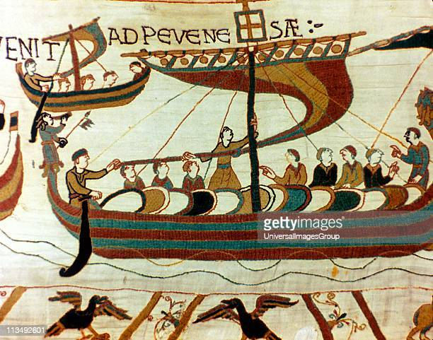 Bayeux Tapestry 1067 A boat of William the Conqueror's fleet carrying soldiers with their shields arriving at Pevensey on the English coast Invasion...
