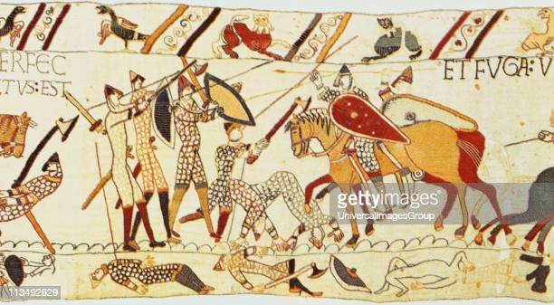 Bayeux Tapestry 1067 Battle of Hastings 14 October 1066 After death of Harold the Normans on horseback mop up the remaining English on foot in chain...