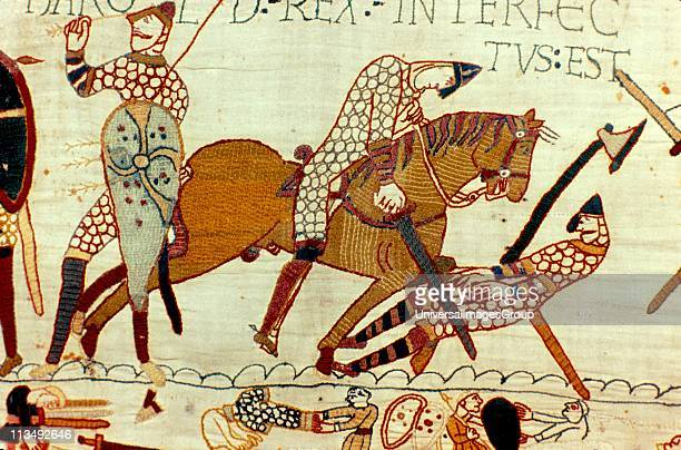 Bayeux Tapestry 1067 Battle of Hastings 14 October 1066 The death of Harold II last AngloSaxon king of England Left figure pulling arrow from eye and...