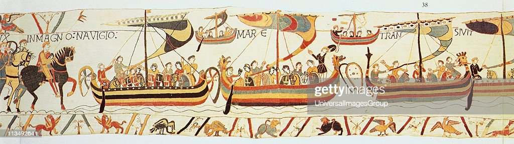 Bayeux Tapestry 1067: William of Normandy's (William the Conqueror) fleet setting sail for England. They landed at Pevensey on the south coast on 28 September 1066. Defeated Harold II at Battle of Hastings on 14 October. Textile... : News Photo