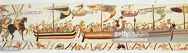 Bayeux Tapestry 1067 William of Normandy's fleet setting sail for England They landed at Pevensey on the south coast on 28 September 1066 Defeated...