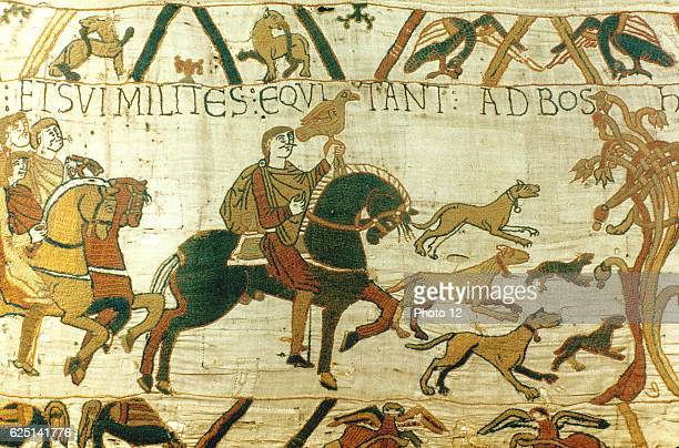 Bayeux Tapestry Harold Godwinson Earl of Wessex holding hawk riding to Bosham for hunting and sea fishing