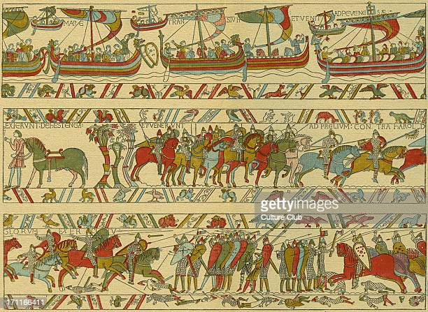 Bayeux tapestry Norman attack on England William the conqueror 's fleet crossing the Channel to invade England Scenes of battle between Normans and...