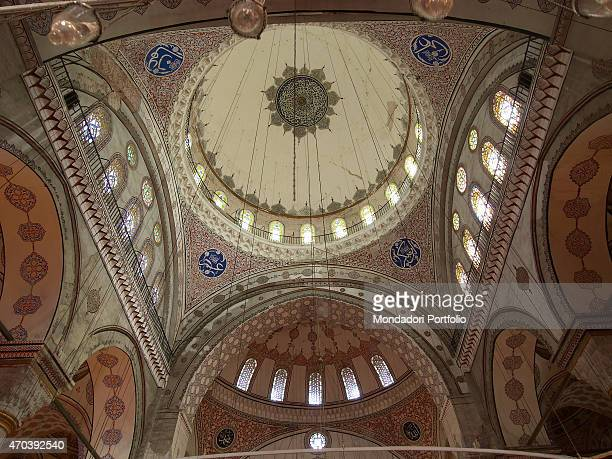'Bayezid II Mosque 15011505 16th Century marble and granite building Turkey Istanbul Detail Inside view of the main dome sustained by archs with a...