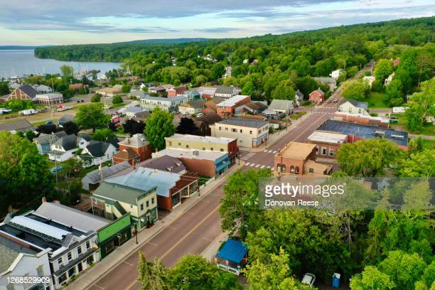 bayfield wisconsin    main street usa - vilas_county,_wisconsin stock pictures, royalty-free photos & images