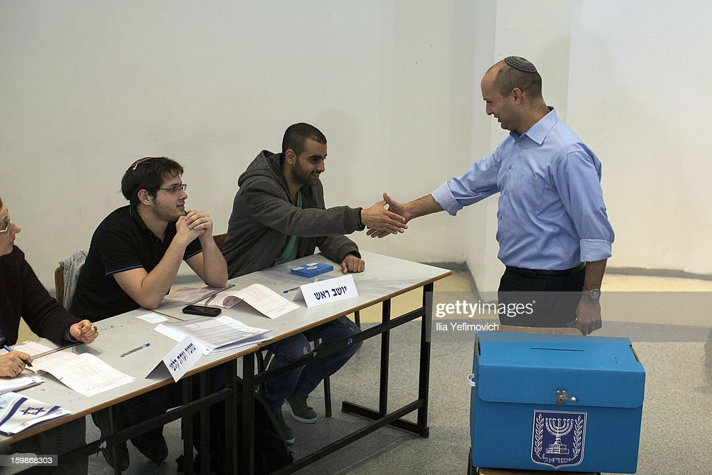 Bayit Yehudi (Jewish Home) party leader Naftali Bennett casts his vote in the Israeli General Election on January 22, 2013 in Ra'anana, Israel. The latest opinion polls suggest that current Prime Minister Benjamin Netanyahu will return to office, albeit with a reduced majority.
